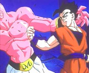 Gohan punches Boo in the intro movie